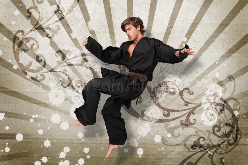 Salto dell'esperto in arti marziali fotografia stock