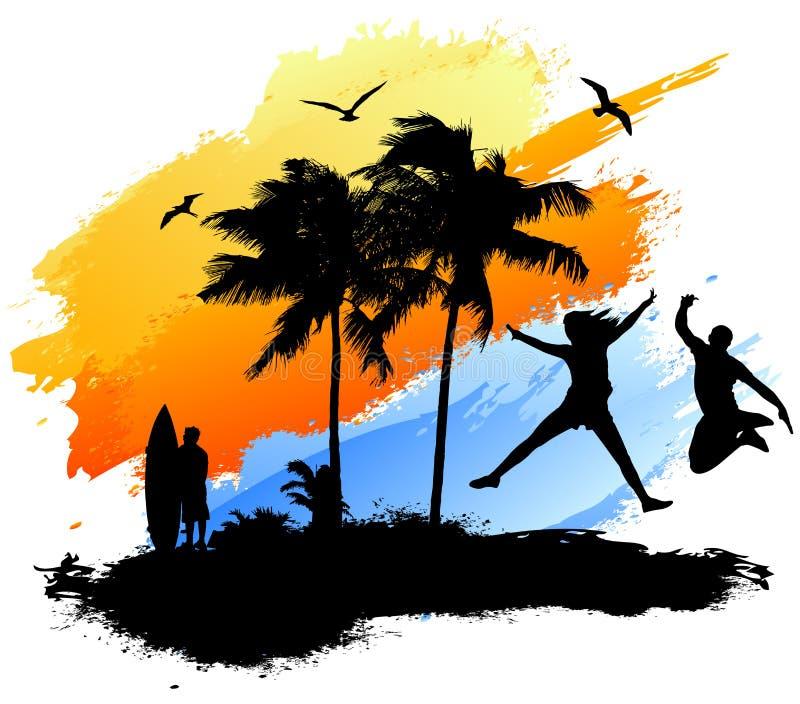 Salto della spiaggia del surfista illustrazione vettoriale