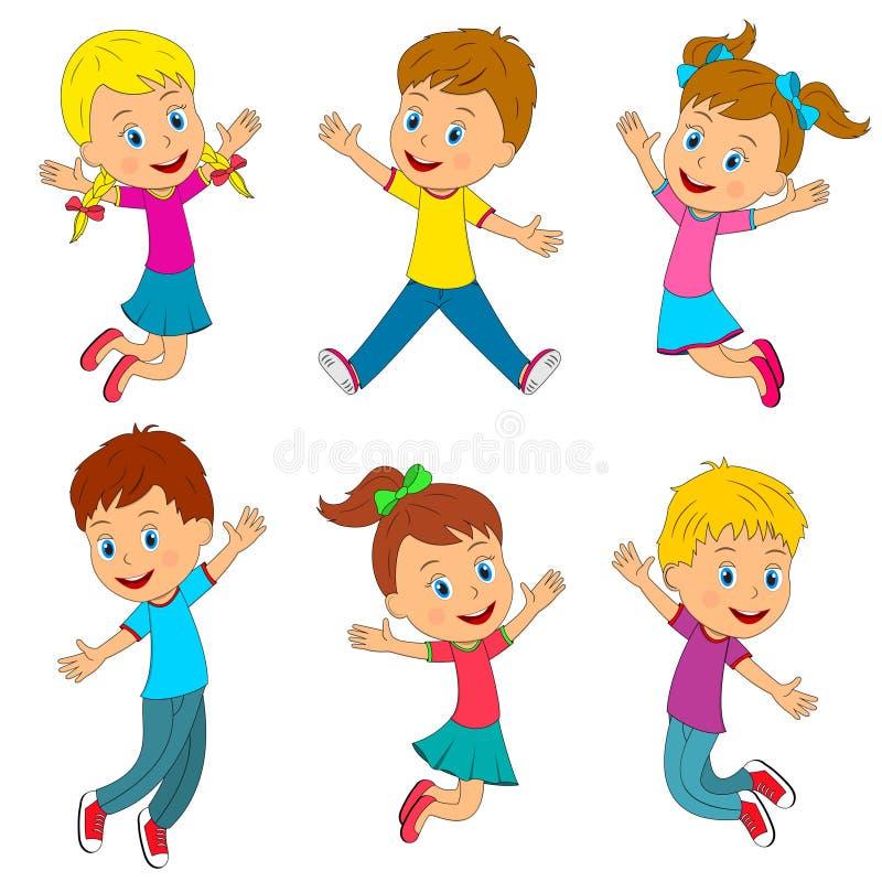 Salto delle ragazze e dei ragazzi illustrazione di stock