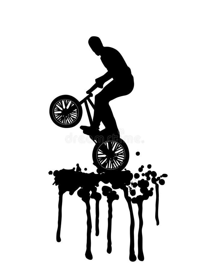 Salto di Bmx su spruzzata in in bianco e nero illustrazione di stock