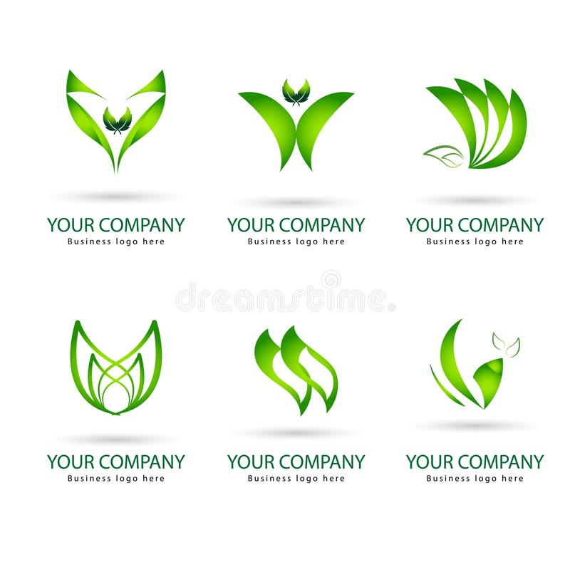 Salto di colore verde con l'icona dell'insieme di vettore degli shaps illustrazione vettoriale
