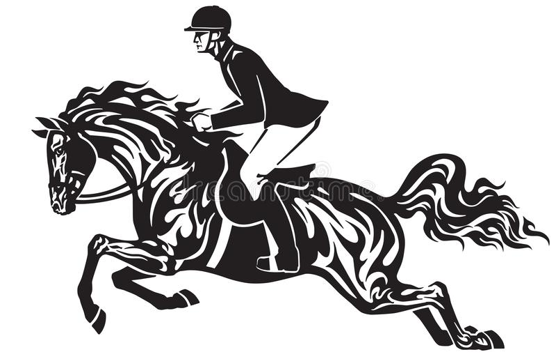 Salto di manifestazione di sport equestre Cavaliere su un cavallo illustrazione di stock