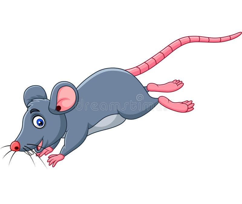 Salto divertido del ratón de la historieta ilustración del vector