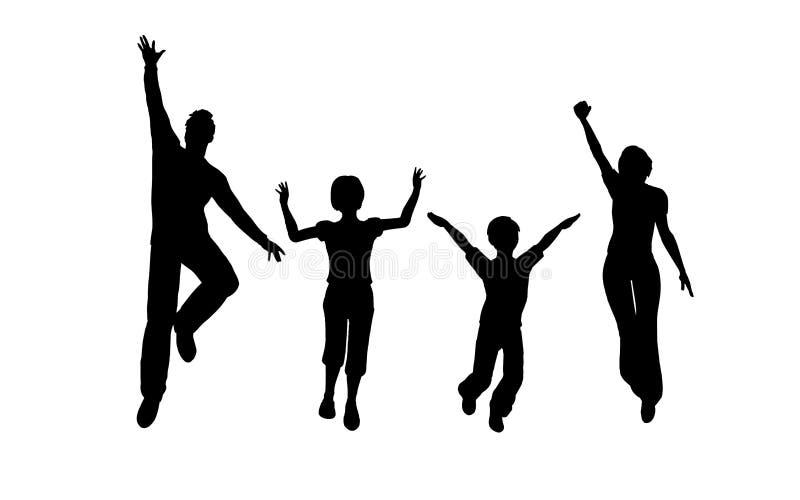 Salto do agregado familiar com quatro membros ilustração stock