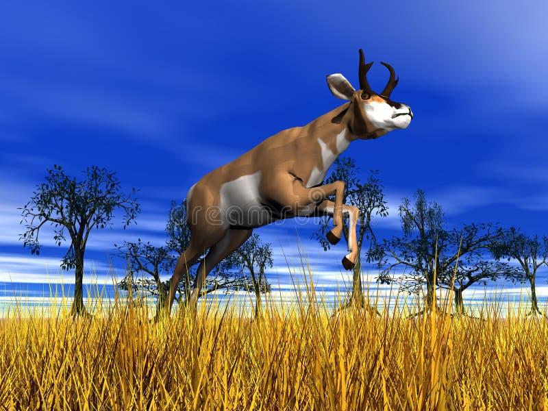 Salto do antílope de Pronghorn ilustração stock