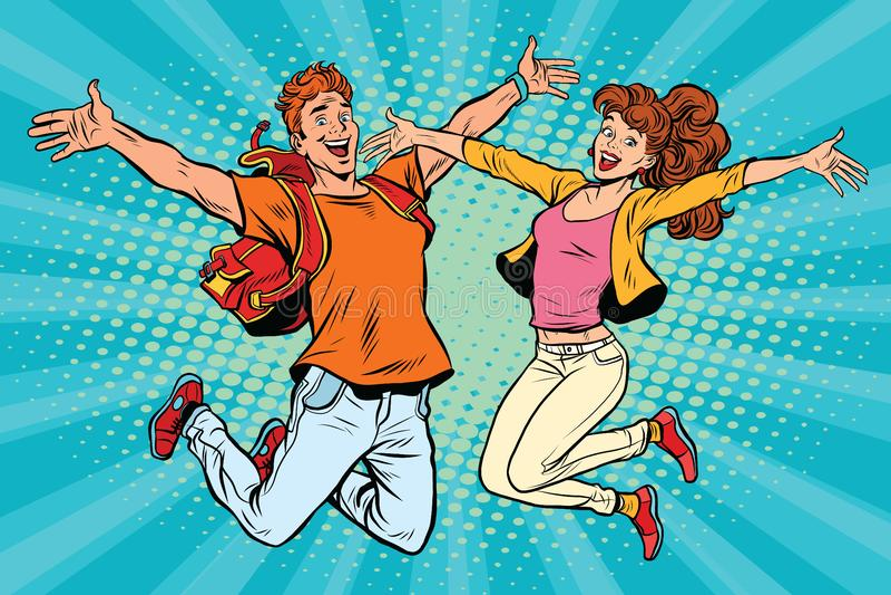 Salto do homem novo e da mulher dos pares do amor ilustração do vetor