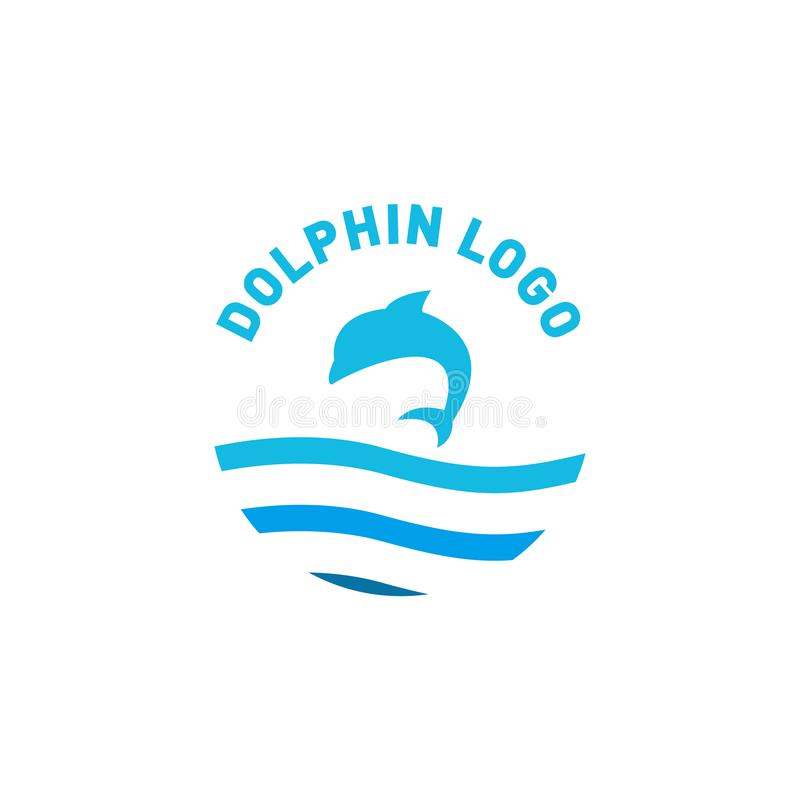 Salto do projeto do logotipo do golfinho acima de um mar ilustração royalty free