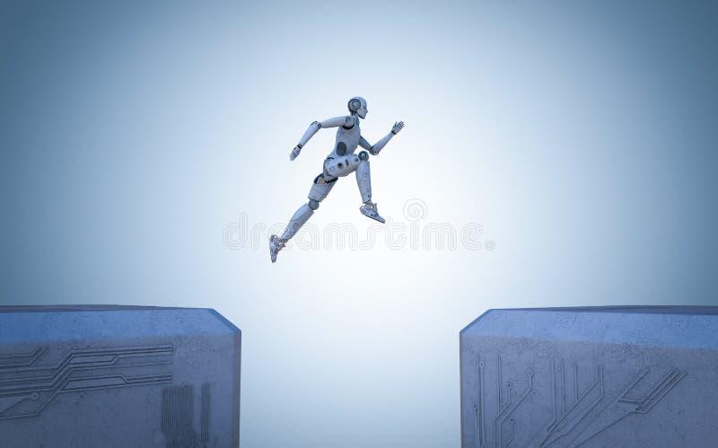 Salto do robô transversalmente ilustração stock