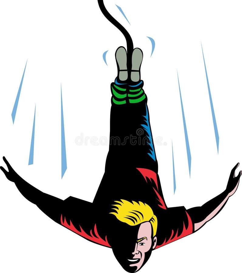 Salto do tirante com mola do homem ilustração stock
