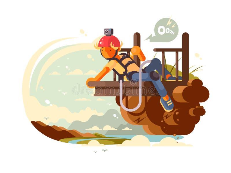 Salto do tirante com mola do homem ilustração royalty free