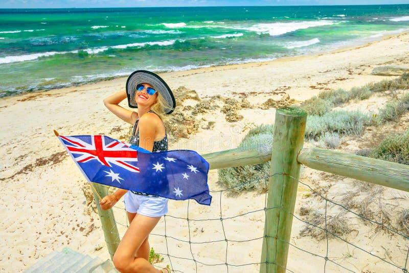 Salto en la playa de Perth foto de archivo libre de regalías