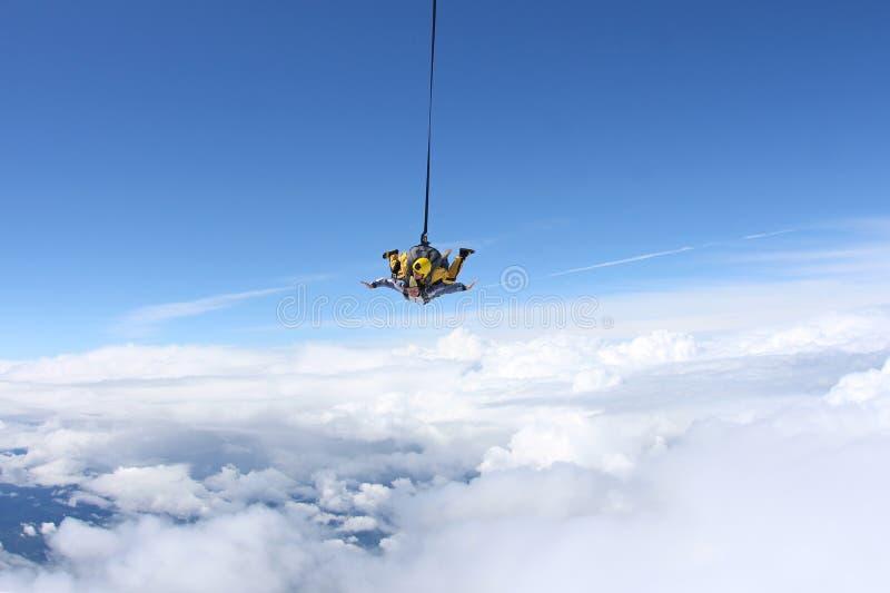 Salto en tándem El saltar en caída libre en el cielo azul imagen de archivo libre de regalías