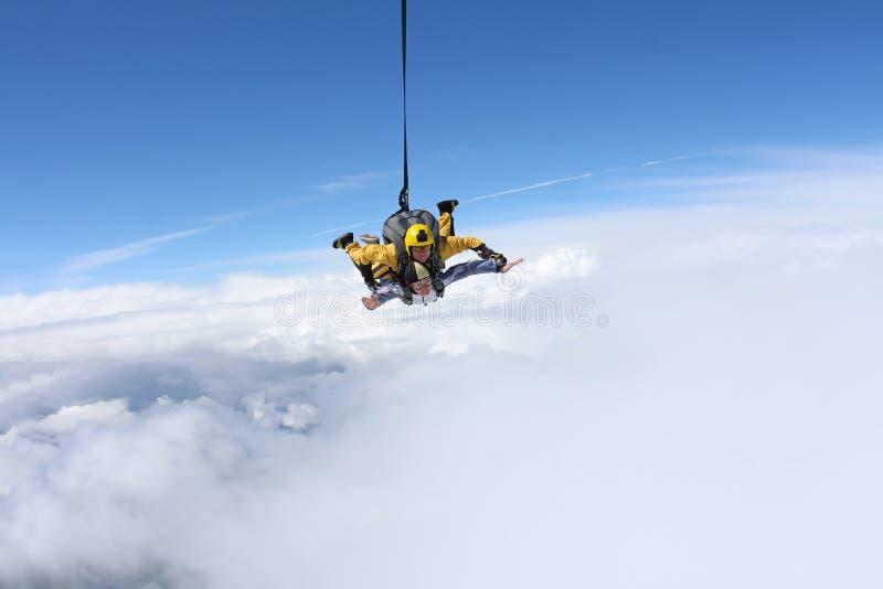Salto en tándem El saltar en caída libre en el cielo azul fotografía de archivo libre de regalías
