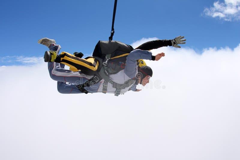 Salto en tándem El saltar en caída libre en el cielo azul fotografía de archivo