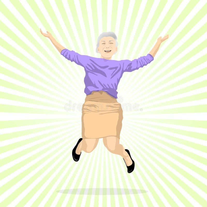Salto envelhecido da mulher da alegria ilustração royalty free