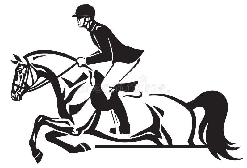 Salto equestre del concorso ippico delle competizioni sportive illustrazione di stock