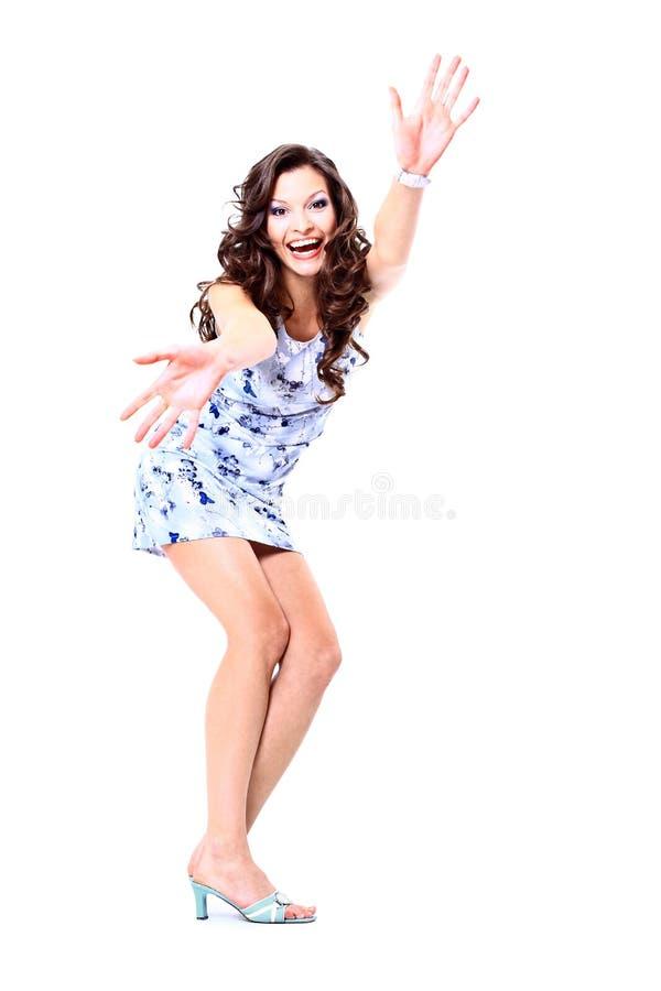 Salto excited feliz da menina fotografia de stock