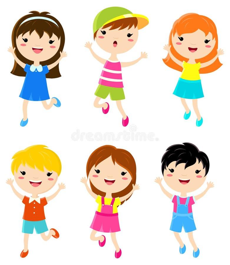 Salto felice dei bambini illustrazione di stock