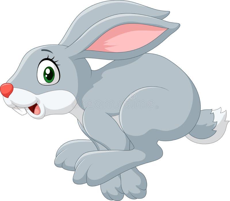 Salto felice del coniglietto del fumetto isolato su fondo bianco illustrazione vettoriale