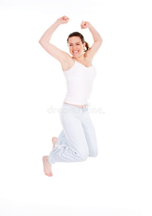 Salto feliz fotografia de stock