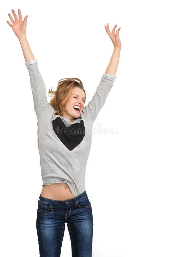 Salto feliz da mulher isolado imagem de stock royalty free