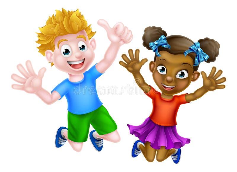 Salto feliz de los niños de la historieta ilustración del vector