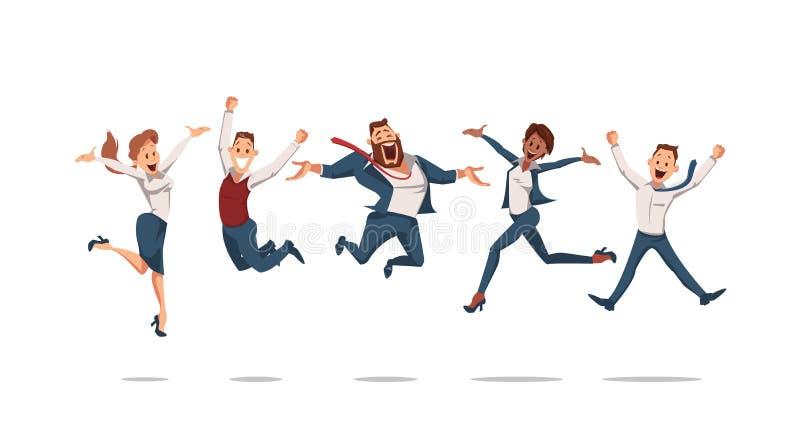 Salto feliz de los oficinistas Ilustración del vector libre illustration