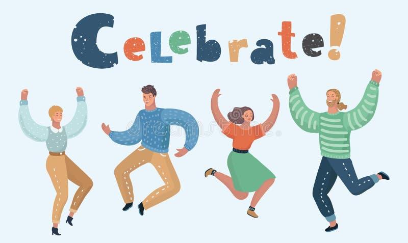 Salto feliz del grupo de personas ilustración del vector