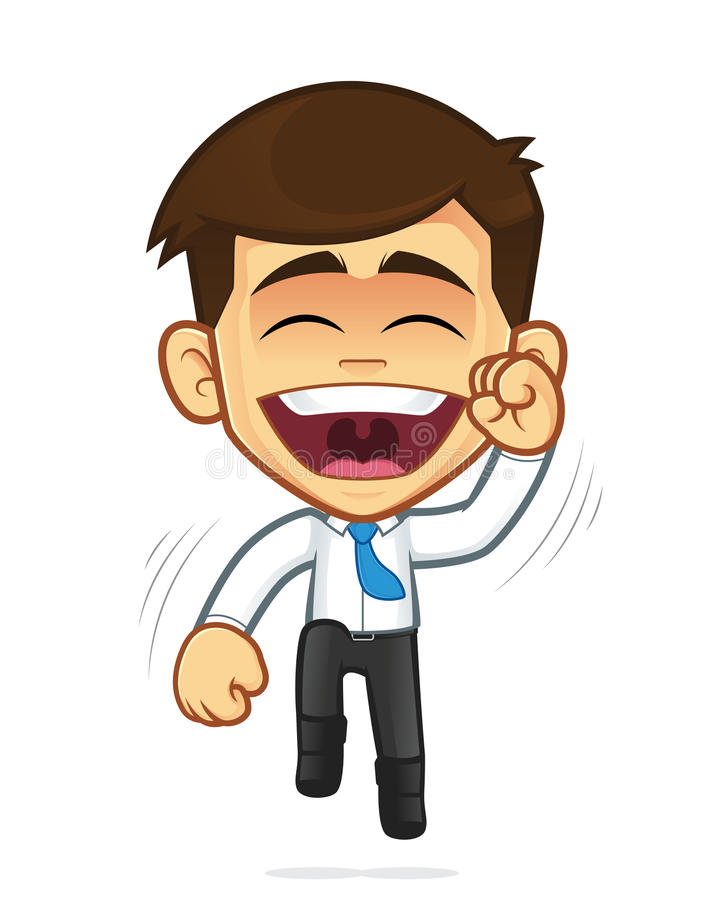 Salto feliz del hombre de negocios stock de ilustración