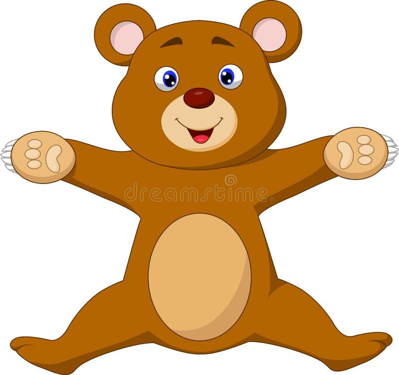 Salto feliz dos desenhos animados do urso marrom ilustração do vetor