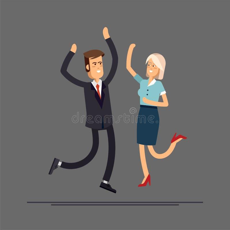 Salto feliz dos pares do negócio ilustração do vetor