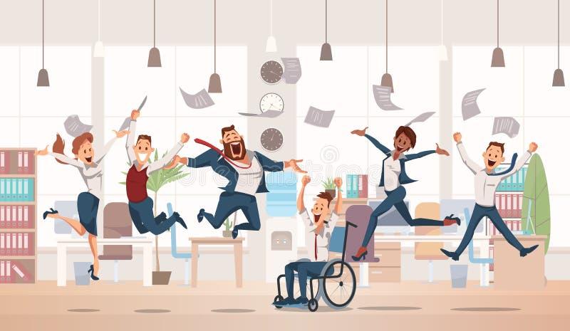 Salto feliz dos trabalhadores de escritório Ilustração do vetor ilustração stock