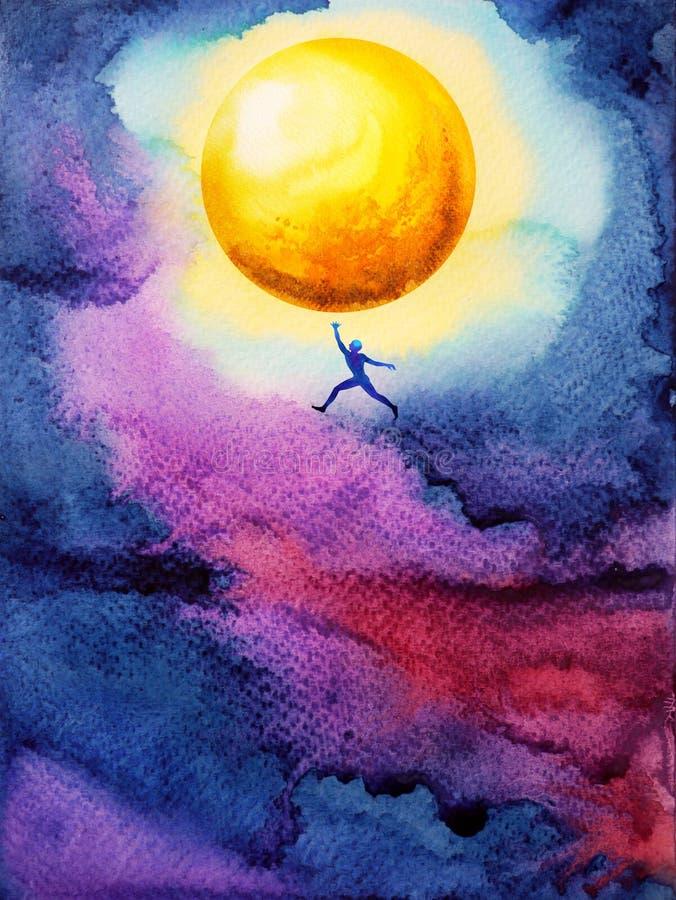 Salto humano alto hasta la luna amarilla brillante del ful de la captura en cielo oscuro imagen de archivo