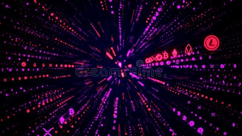 Salto Hyperspace através das estrelas a uma ilustração distante do espaço 3D Raios de n?on ilustração royalty free