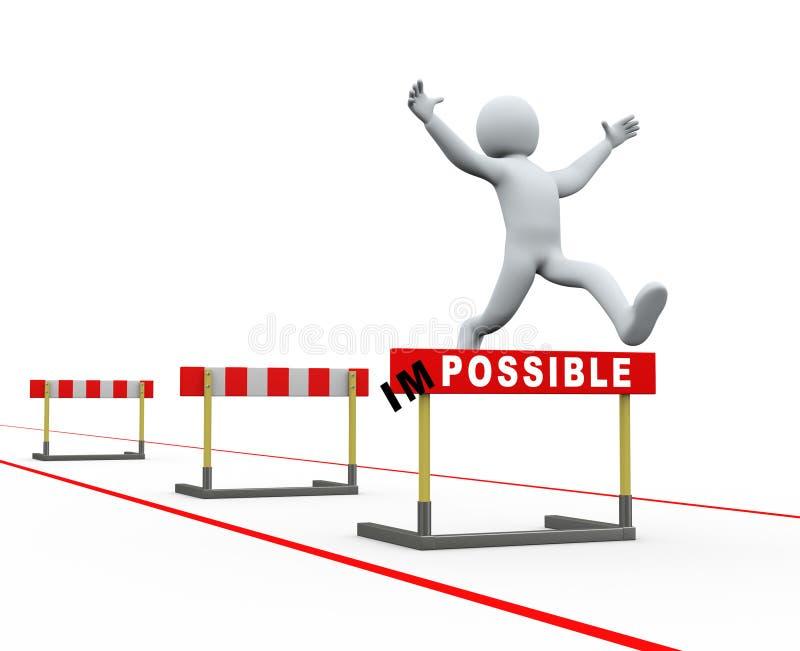 salto imposible de la pista de los obstáculos del hombre 3d stock de ilustración
