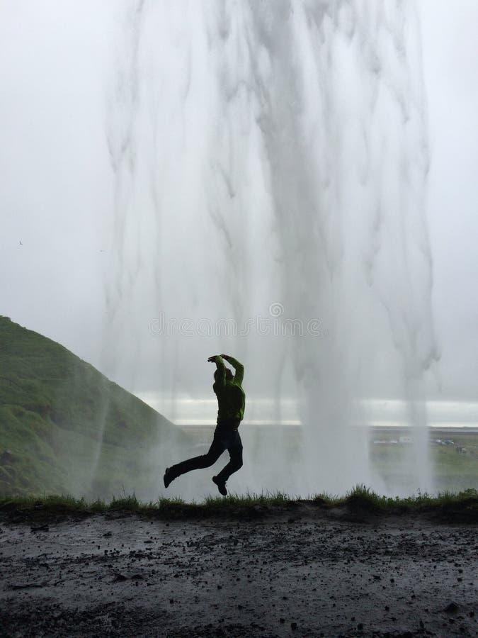 Salto islandês na cachoeira imagens de stock royalty free