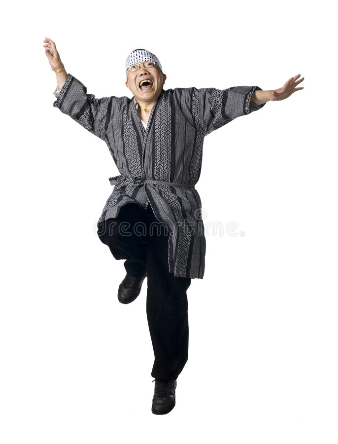 Salto japonês do homem foto de stock royalty free