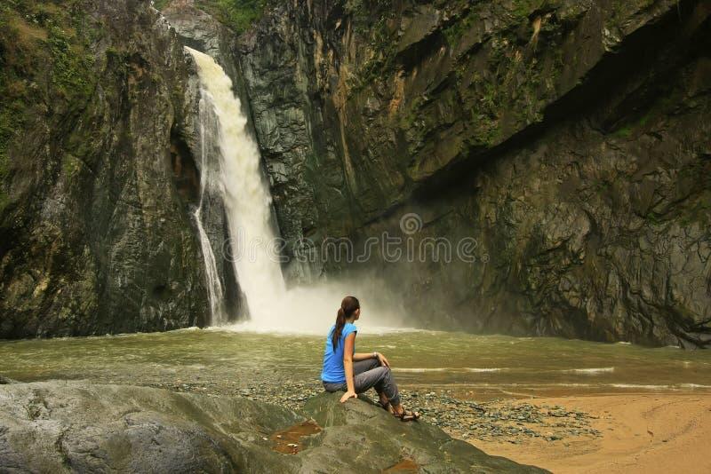 Salto Jimenoa Uno waterfall, Jarabacoa stock photo