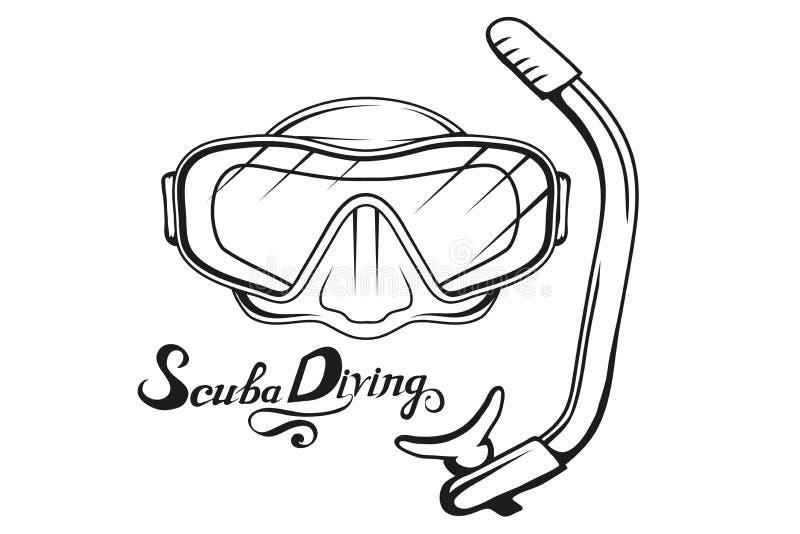 salto Logotipo del buceo con escafandra Máscara del buceador Casco del buceo con escafandra stock de ilustración
