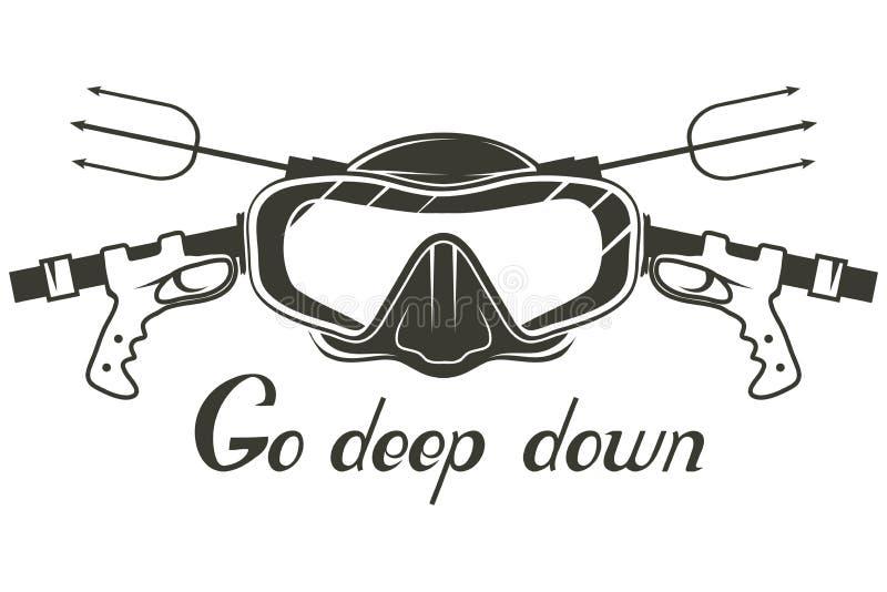 salto Logotipo del buceo con escafandra Máscara del buceador Casco del buceo con escafandra ilustración del vector