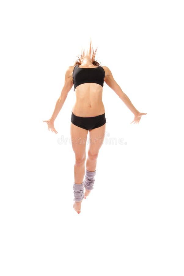 Salto moderno do dançarino da mulher do estilo do jazz foto de stock royalty free