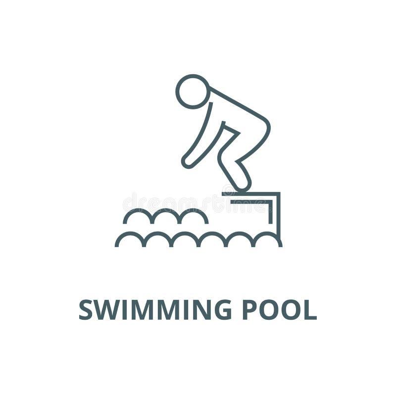 Salto na água, linha ícone do vetor da piscina, conceito linear, sinal do esboço, símbolo ilustração royalty free