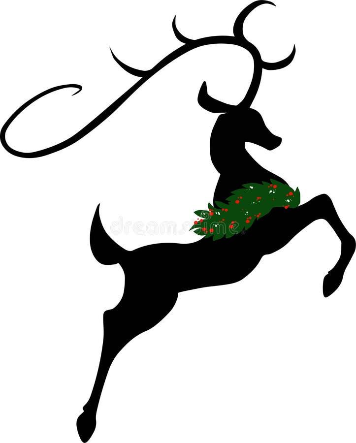 Salto ou ilustração de voo do vetor da silhueta da rena fotos de stock royalty free