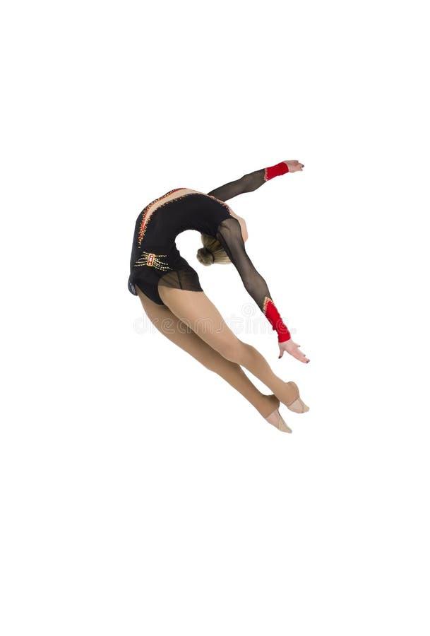Salto professionale della ginnasta fotografie stock