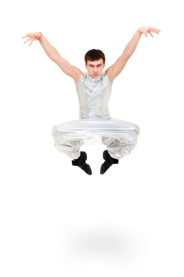 Salto serio del ballerino dell'uomo immagini stock libere da diritti