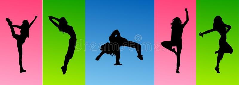 Salto sexy di ballo della siluetta illustrazione di stock
