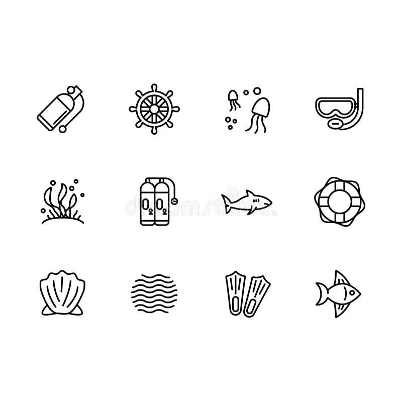 Salto simple del sistema, buceando, el nadar, navegando en la línea icono del vector del mar Contiene tal equipo del icono para e libre illustration