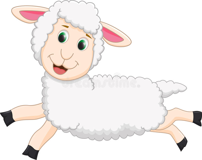 Salto sveglio del fumetto delle pecore illustrazione vettoriale