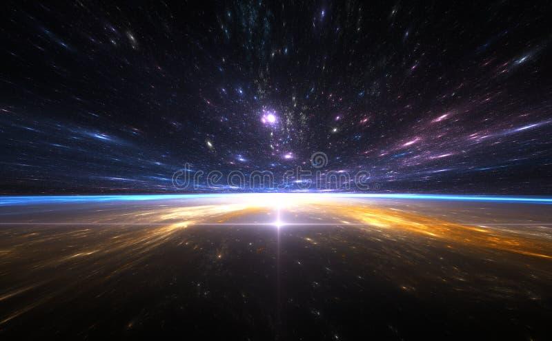 Salto temporal, viajando no espaço ilustração royalty free