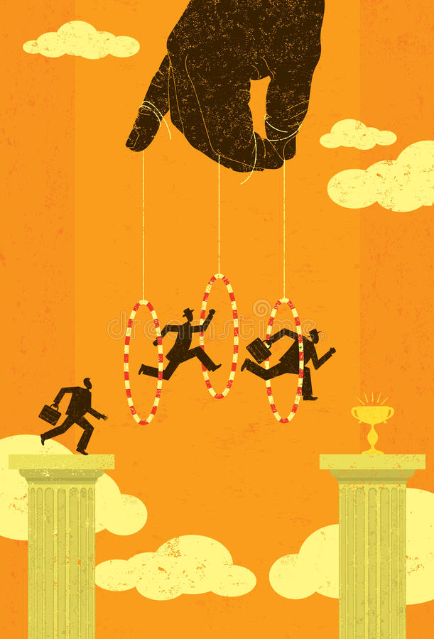 Salto a través de aros stock de ilustración